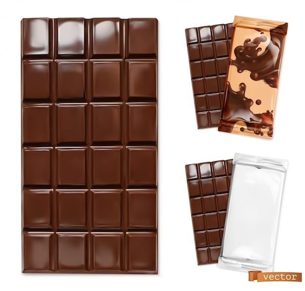 Barra de chocolate e ilustração de embalagens de chocolate