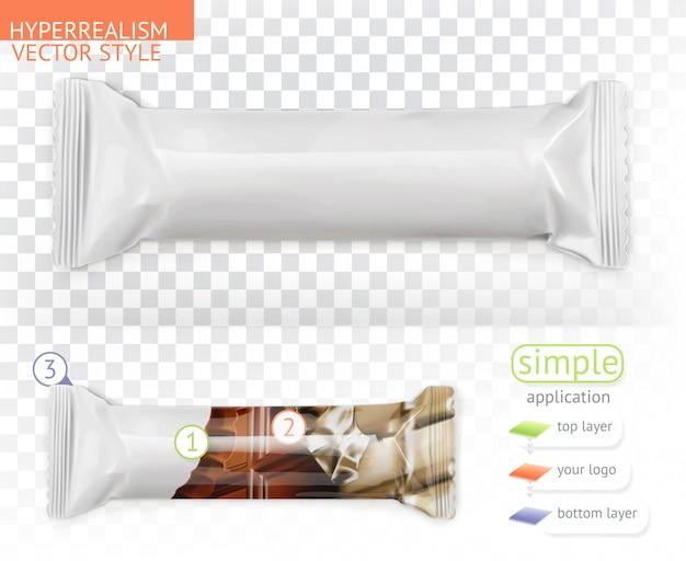 Barra de chocolate, embalagem em polietileno branco. aplicação simples estilo hiperrealismo