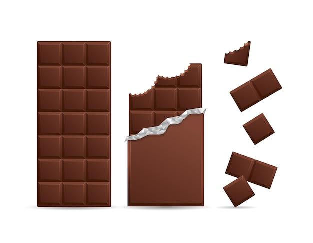 Barra de chocolate escuro realista mordida com pedaços. ilustração vetorial