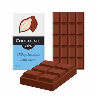Barra de chocolate. pacote de etiquetas de cacau. produto doce