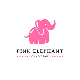 Barra de chocolate plana emblema com elefante rosa fofo.