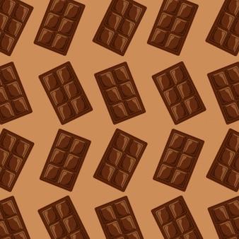 Barra de chocolate quadrado doce padrão