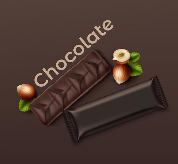 Barra de chocolate realista com nozes: embalada e aberta em fundo marrom