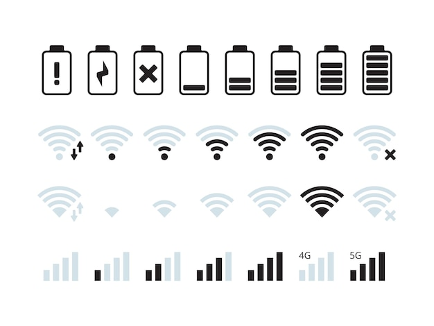 Barra de interface do telefone. coleção de símbolos de status de bateria de sinal de rede móvel wi-fi 5g.