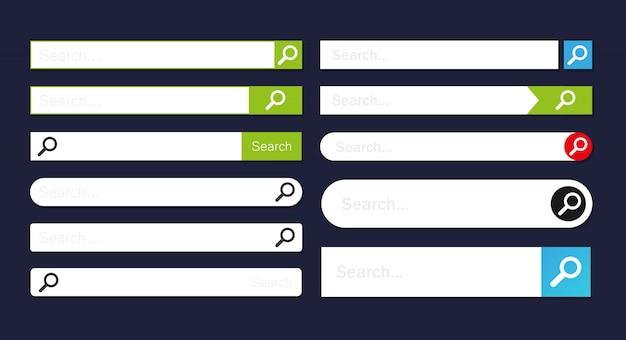 Barra de pesquisa com coleção de botões para o site