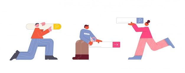 Barra de pesquisa com pessoas. pessoas alegres ajudam a pesquisar a interface web de informações.
