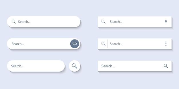 Barra de pesquisa para interface do usuário, design e site. endereço de pesquisa e ícone da barra de navegação. coleção de modelos de formulário de pesquisa para sites