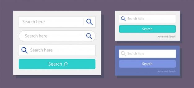 Barra de pesquisa ui web campos design ilustração em vetor interface modelo
