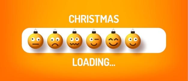 Barra de progresso de natal com bola de emoji - carregamento de natal e bola de rosto de emoção em estilo realista. desenho de ilustração vetorial, cartaz, cartão de felicitações, decoração de ano novo