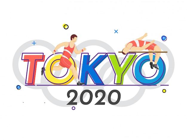 Barra de salto em altura de atleta sem rosto homem com caráter de corredor na tóquio 2020 letteirng
