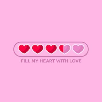Barra de status do dia dos namorados com corações planas
