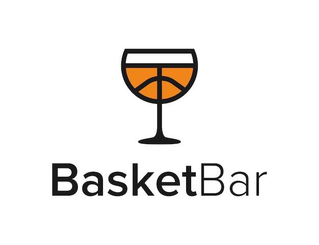 Barra de vidro com bola de basquete, design de logotipo geométrico moderno e elegante