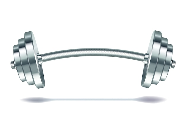 Barra realista de metal em fundo branco. ilustração.
