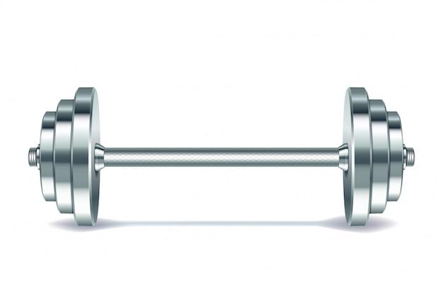 Barra realista de metal em fundo branco. .
