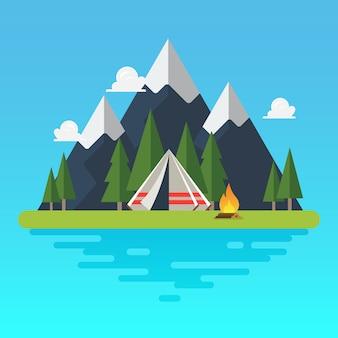 Barraca de acampamento com paisagem