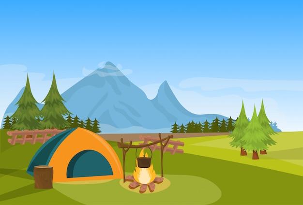 Barraca de acampamento fogo floresta expedição montanha conceito de férias horizontal