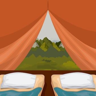 Barraca de acampamento interior do fundo colorido com almofada dobro e cenário da paisagem fora