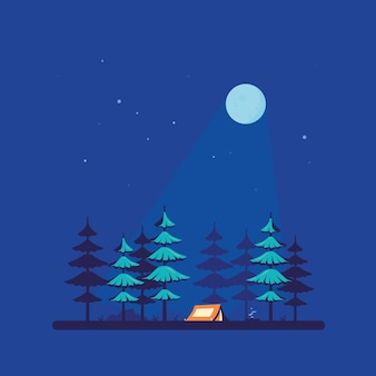 Barraca de acampamento na floresta, design plano
