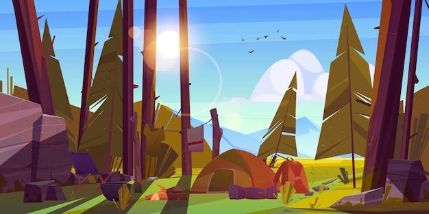 Barraca de acampamento para turistas em acampamento de viajantes da floresta
