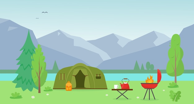 Barraca de acampamento perto do lago e das montanhas.