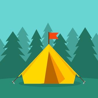 Barraca de acampamento turístico perto dos desenhos animados plana de ilustração vetorial de floresta