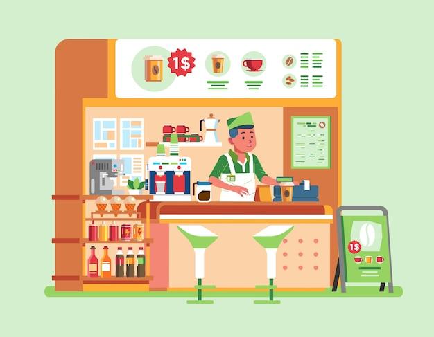 Barraca de café de tamanho médio que vende alimentos e bebidas, com personagem masculino vestindo uniforme