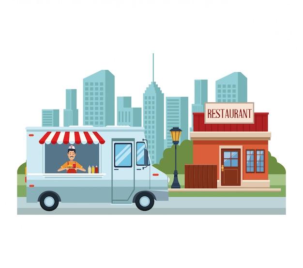 Barraca de comida e lojas