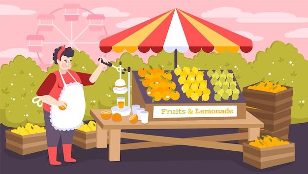 Barraca de compras em parque de diversões da cidade com frutas e limonada no balcão