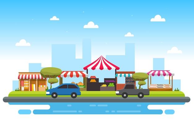 Barraca de loja de frutas e verduras à beira da estrada - ilustração da cidade