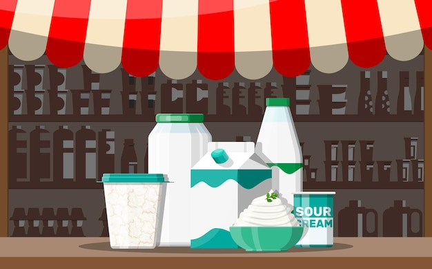 Barraca de loja de mercado de rua de leite. loja do fazendeiro ou balcão de vitrine.