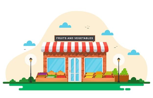 Barraca de loja de vegetais com frutas frescas e mercearia em ilustração de mercado