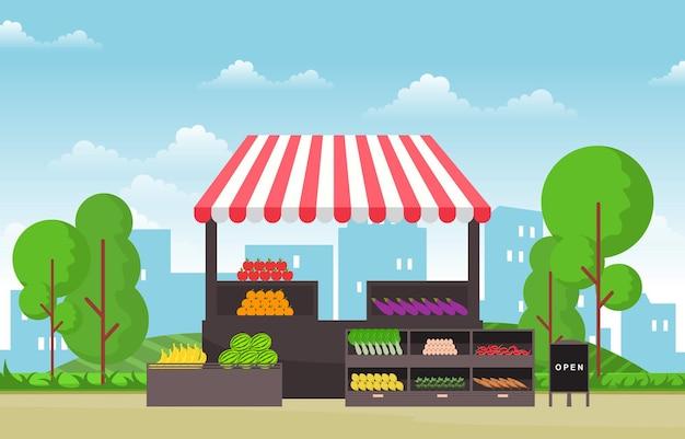 Barraca de loja de vegetais com frutas saudáveis e mercearia em ilustração da cidade