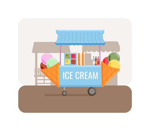 Barraca de loja móvel de sorvete no mercado de rua local