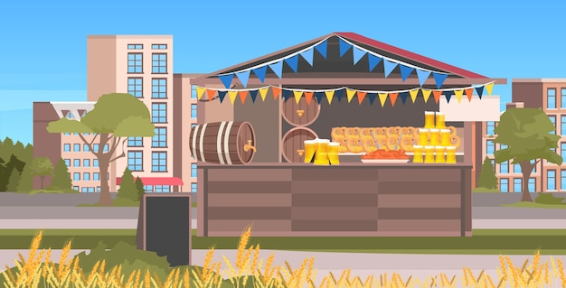 Barraca de madeira com cerveja festa celebração ao ar livre festival paisagem urbana de fundo