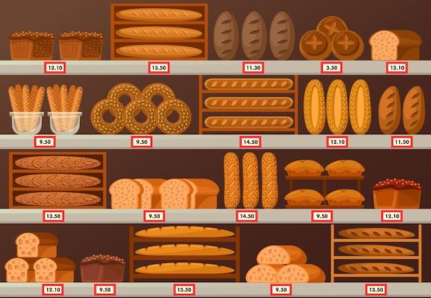 Barraca de padaria ou vitrine com pão