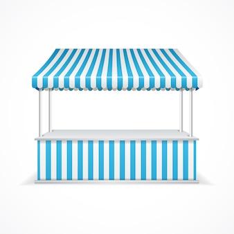 Barraca do mercado com listras azuis e brancas.