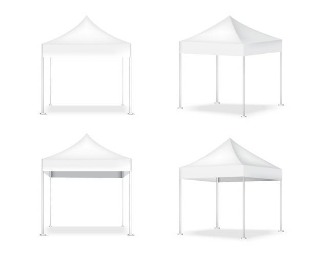 Barraca pop realista de exibição de tenda 3d para ilustração de exposição de promoção de marketing de venda