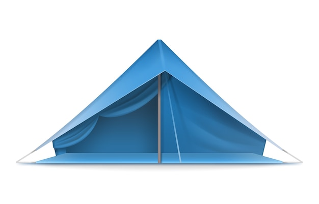 Barraca turística de vetor azul para viagens e camping vista frontal isolada no fundo branco