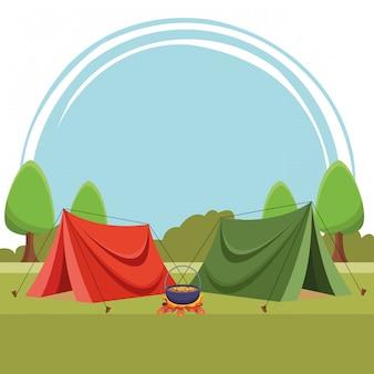 Barracas de acampamento com sopa na fogueira
