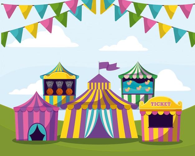 Barracas de circo com guirlandas ícone isolado
