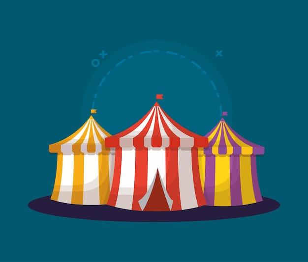 Barracas de circo sobre fundo azul