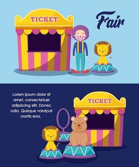 Barracas de circo venda de bilhetes com palhaço e animais fofos
