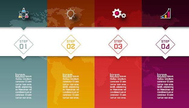Barras coloridas com infográficos de ícone de negócios