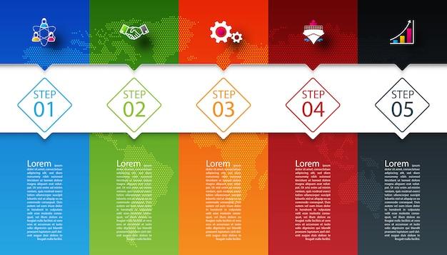 Barras coloridas com infográficos de ícone de negócios.