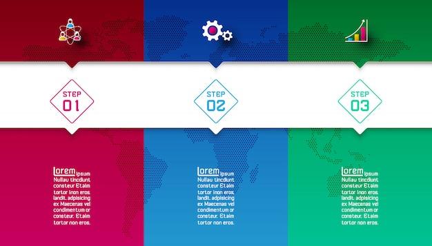 Barras coloridas com modelo de infográfico de ícone de negócios