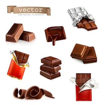 Barras de chocolate e peças, conjunto