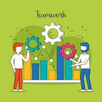 Barras de estatísticas de trabalho em equipe de pessoas