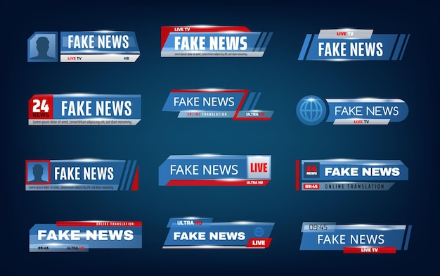 Barras de notícias falsas e faixas inferiores da tela da tv