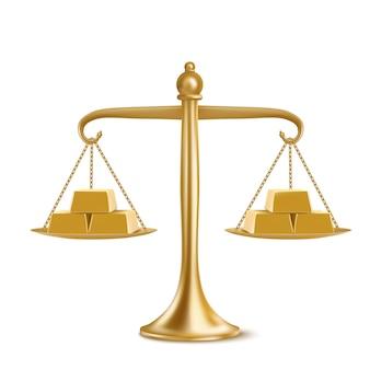 Barras de ouro em escalas de peso isoladas no fundo branco. ilustração realista de libra de ouro com lingotes de metal amarelo. conceito de igualdade financeira, equilíbrio e comparação de moedas