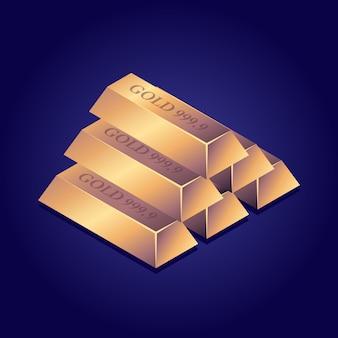 Barras de ouro isométricas lingote de ouro